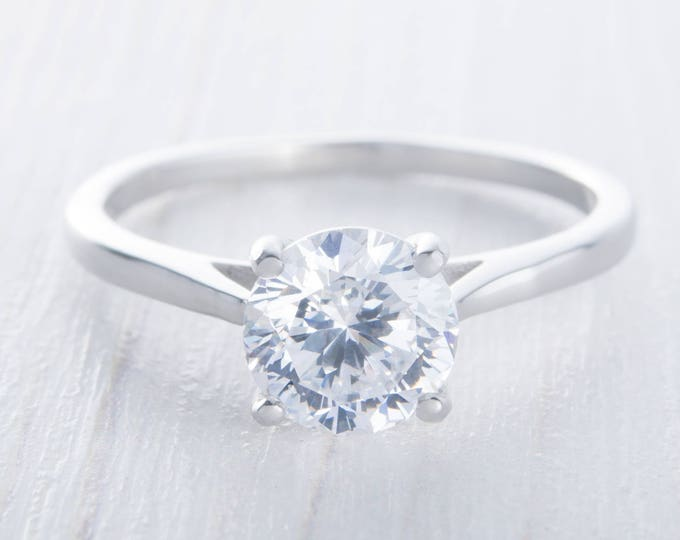 Genuine White Moissanite 1.5ct Solitaire cathedral setting ring in Titanium or White gold - handmade engagement ring