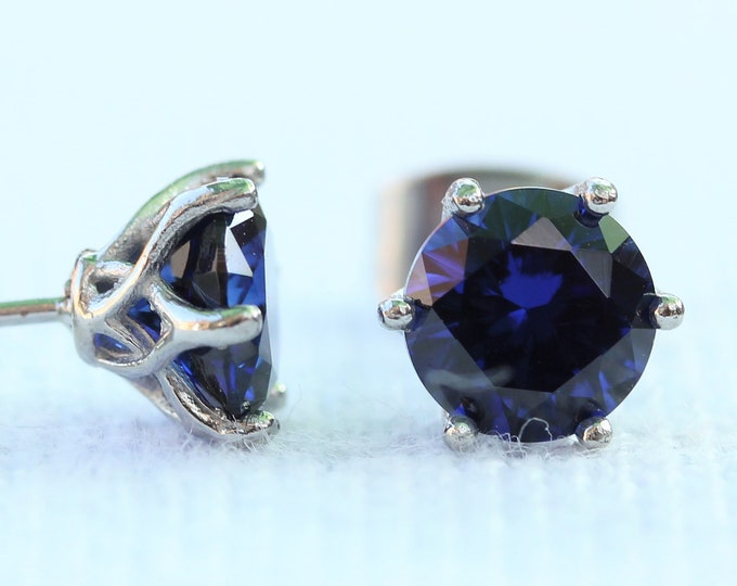 Natural Blue Sapphire stud earrings, available in titanium, white gold and surgical steel 4mm, 5mm and 6mm sizes