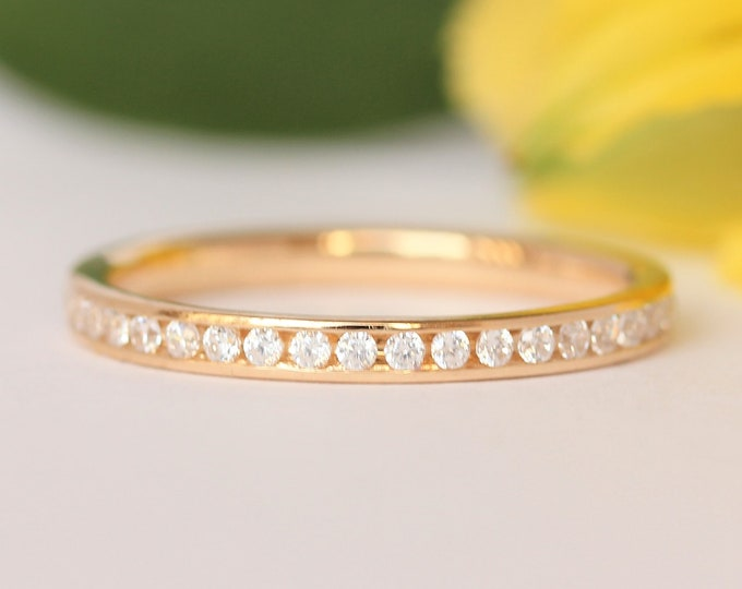 Genuine Moissanite 2.5mm wide full eternity ring avalable in 10k, 14k, 18k yellow, rose or white gold and platinum
