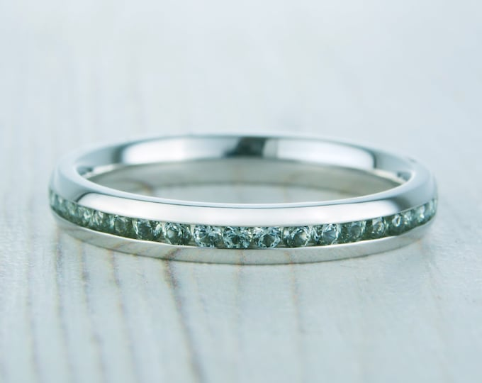 Natural Green Sapphire 3mm Wide Full Eternity ring / stacking ring in white gold or titanium - Wedding Band - Engagement ring