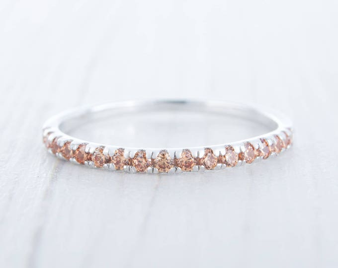 1.8mm wide natural Citrine Half Eternity ring  in white gold or Silver - stacking ring - wedding band - handmade engagement ring