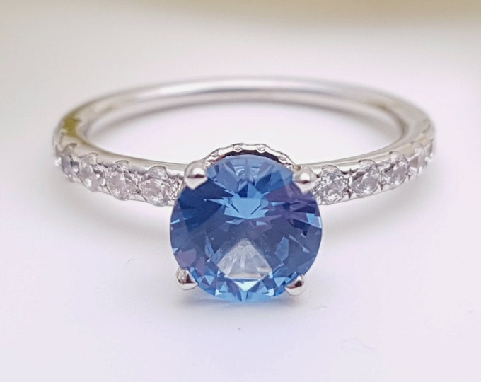 Natural Aquamarine solitaire engagement ring with hidden halo available in 10k, 14k, 18k Rose, yellow, white gold and platinum