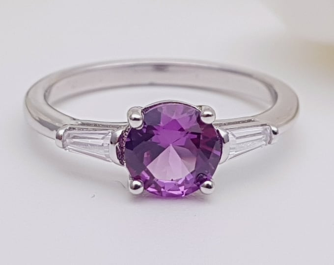 1.5ct Alexandrite & Solid gold man made diamond solitaire ring available in Rose, yellow, white gold