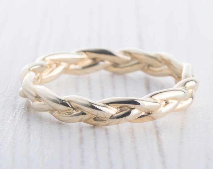 3mm Wide Braided Weave Ring in 10k, 14k, 18k Solid Yellow, Rose or White Gold  - wedding ring - wedding band - promise ring