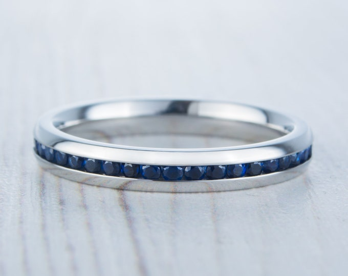 Lab blue sapphire 3mm Wide Full Eternity ring / stacking ring in white gold or titanium - Wedding Band - Engagement ring