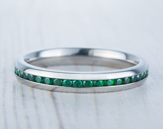 Lab Emerald 3mm Wide Full Eternity ring / stacking ring in white gold or titanium - Wedding Band - Engagement ring