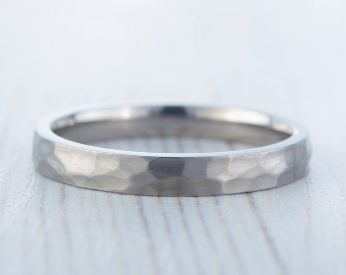 3mm Hammered finish Titanium Wedding ring band for men and women