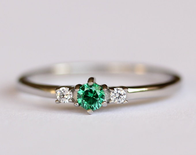 Natural Emerald and White Sapphire 3 Stone Trilogy Ring in White Gold Filled or Titanium  - Engagement Ring - Handmade Ring