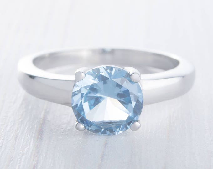 2ct Aquamarine Solitaire ring in Sterling Silver - engagement ring - wedding ring - handmade ring