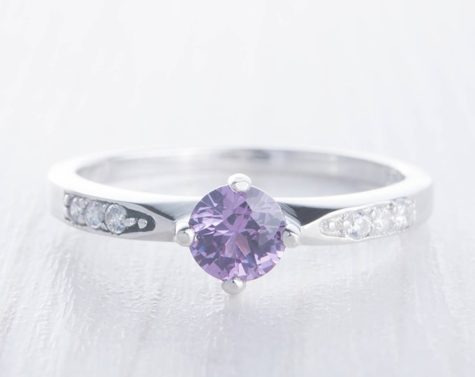 Alexandrite Solitaire engagement ring - available in sterling silver or white gold - handmade engagement ring - wedding ring