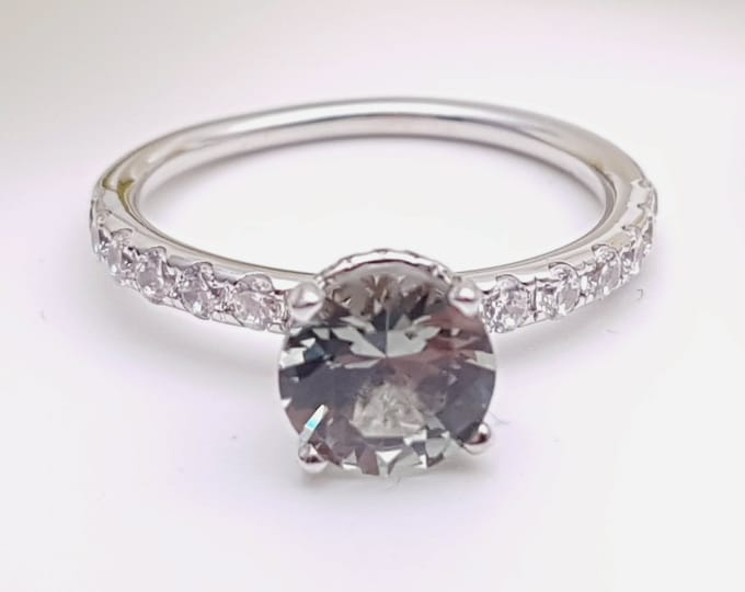 1.5ct Natural Green Sapphire solitaire engagement ring with hidden halo available in 10k, 14k, 18k Rose, yellow, white gold and platinum
