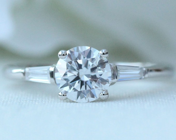 Sterling Silver 1.5ct man made diamond solitaire ring - engagement ring