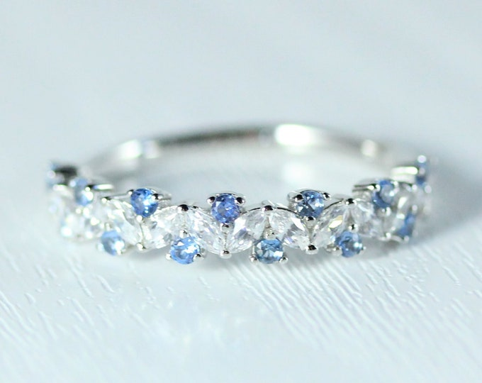 Aquamarine Solid gold man made diamond Marquise and round cut half eternity ring available in Rose, yellow or white gold