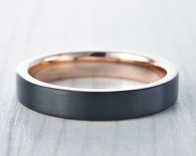 4mm Black Brushed titanium & 18k rose gold wedding ring band for men and women