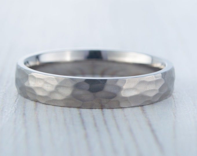 4mm Hammered finish Titanium Wedding ring band for men and women