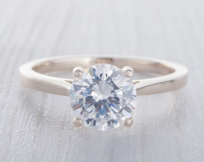 1.5ct Solid gold Cathedral setting Moissanite solitaire ring available in 10k, 14k, 18k Rose, yellow or white gold - engagement ring