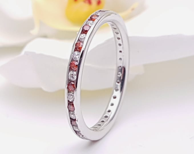 Moissanite and Garnet 2.5mm wide full eternity ring avalable in 10k, 14k, 18k yellow, rose or white gold and platinum