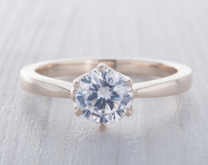 1ct Moissanite Solid gold solitaire ring available in 10K, 14K, 18K Rose, yellow or white gold - engagement ring