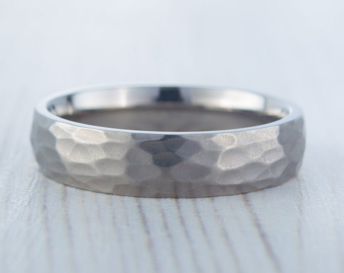 5mm Hammered finish Titanium Wedding ring band for men and women