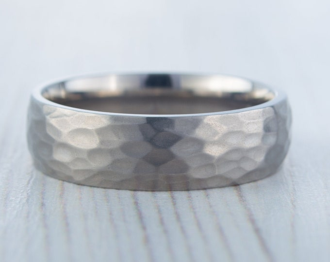 6mm Hammered finish Titanium Wedding ring band for men and women