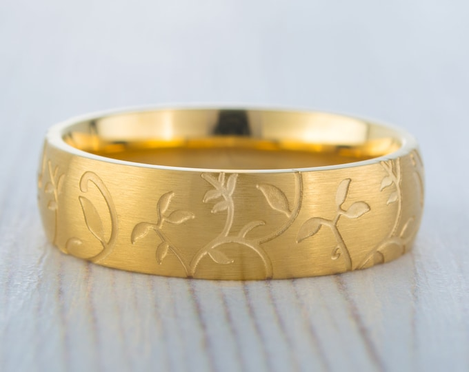 6mm wide 18K Yellow Gold and Brushed Titanium with engraved detail Wedding ring band for men and women