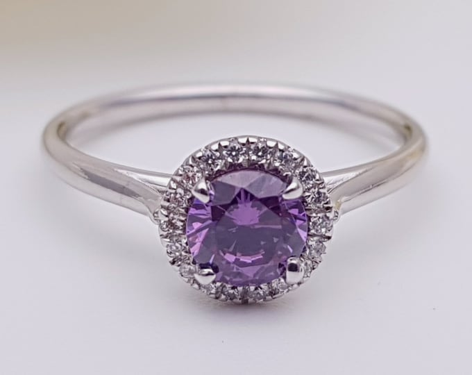 Amethyst & Man Made Diamond halo Engagement Ring - Available in gold, rose gold and white gold - Handmade