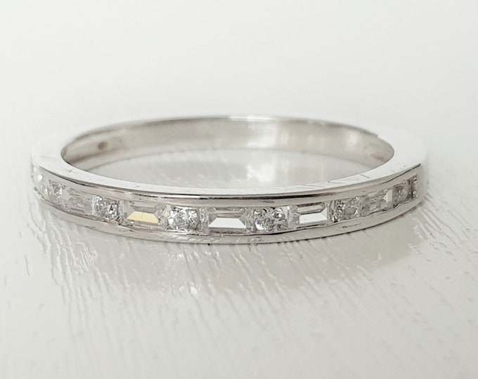 Genuine Moissanite 3mm wide emerald & round cut HALF Eternity ring in gold, or silver - stacking ring - wedding band