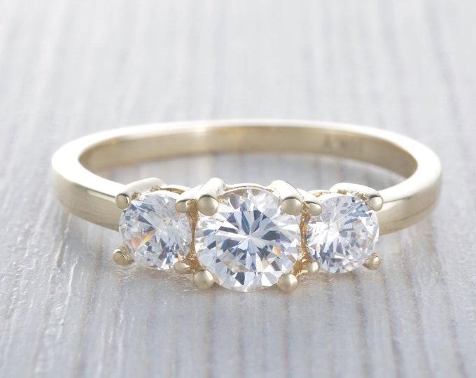 Moissanite Trilogy ring available in 10K, 14K, 18K, Rose, yellow, white gold - engagement ring