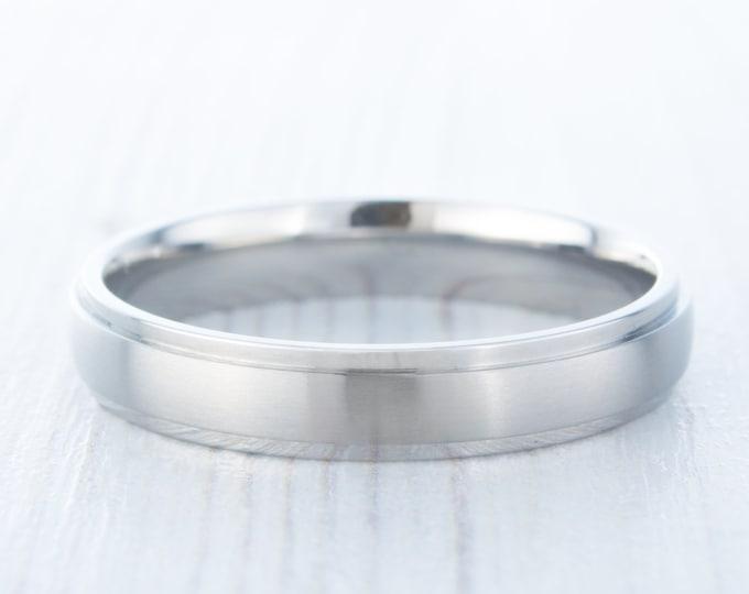 4mm Brushed Titanium Comfort Fit Wedding Ring