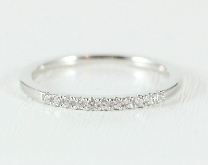 Genuine Moissanite 2mm wide Quarter 1/4 eternity ring avalable in 10k, 14k, 18k yellow, rose or white gold and platinum