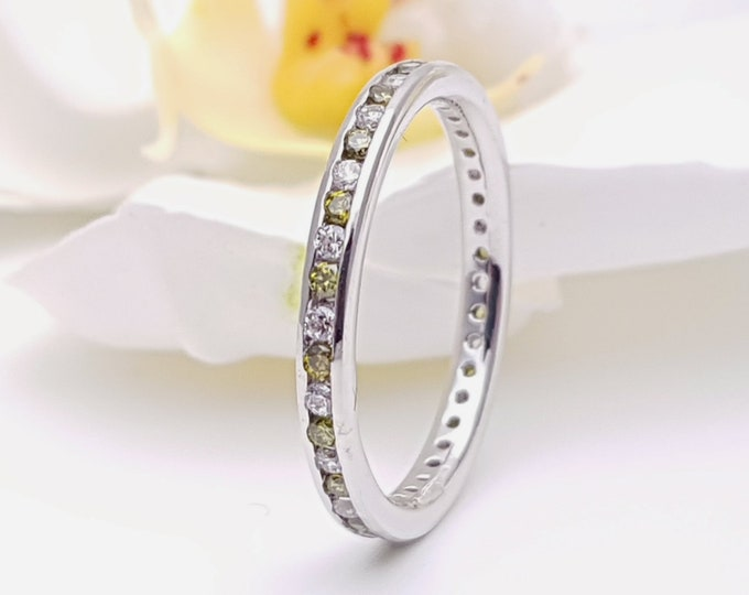 Moissanite and Peridot 2.5mm wide full eternity ring avalable in 10k, 14k, 18k yellow, rose or white gold and platinum