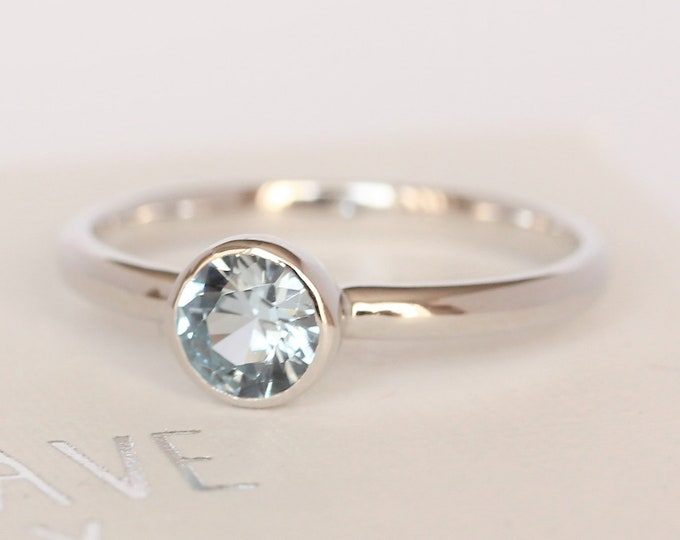 Natural Aquamarine bezel set solitaire ring - Available in white gold or sterling silver - handmade ring