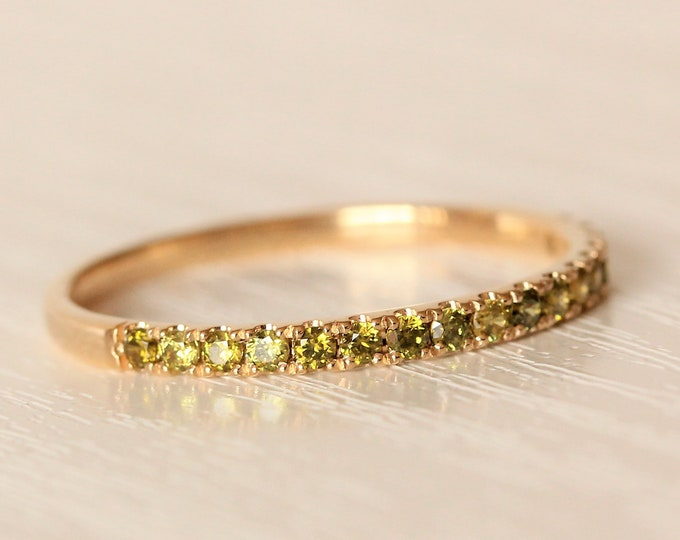 Solid Gold 2mm wide Peridot Half Eternity ring avalable in yellow, rose or white gold - stacking ring - wedding band