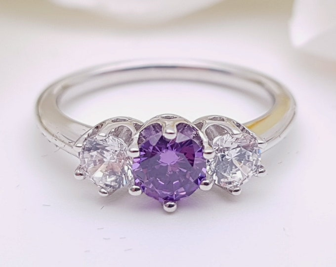 Amethyst & Solid Gold Trilogy ring with man made diamonds ring available in 10k, 14k, 18k yellow, rose or white gold - engagement ring
