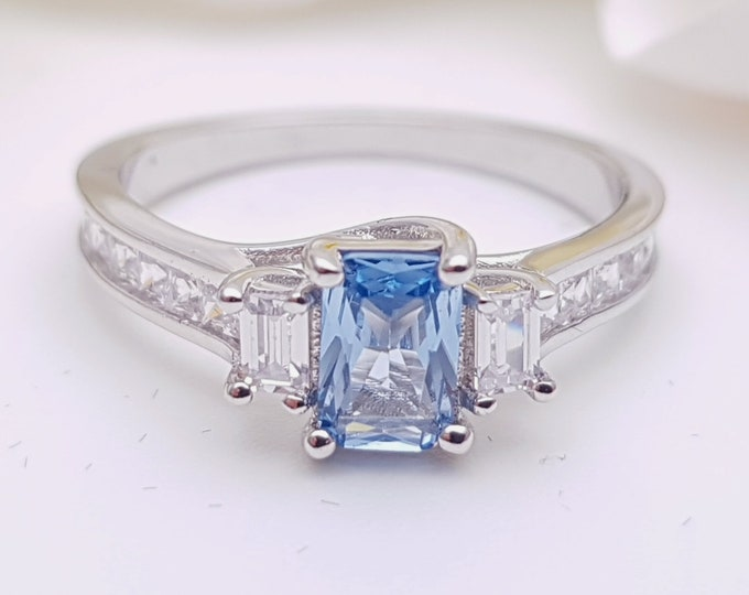 Aquamarine Solid Gold Radiant 3 stone Trilogy ring with man made diamonds - yellow, rose or white gold - engagement ring