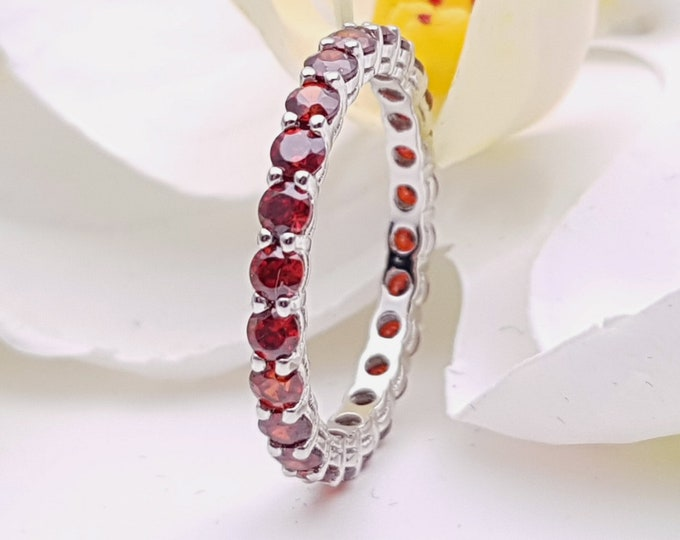 Garnet 2.5mm wide full Eternity ring - stacking ring - wedding band available in gold