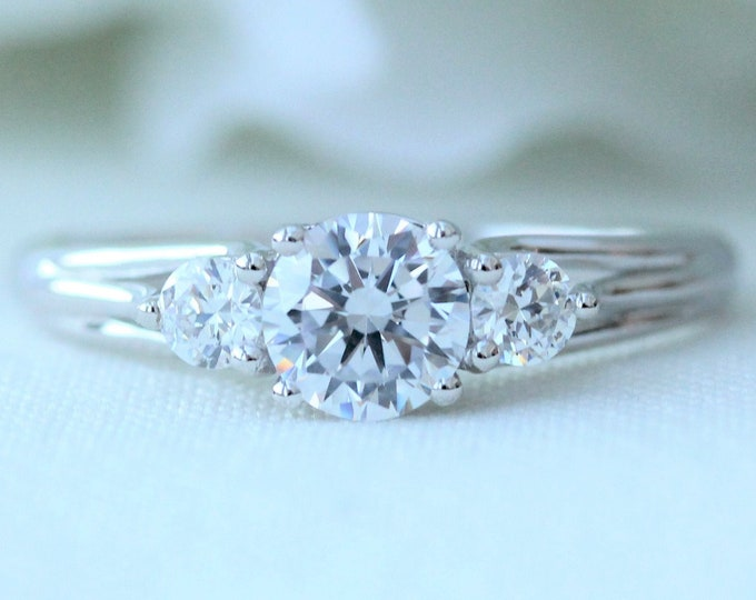 Silver 3 stone Trilogy ring with man made diamonds ring - engagement ring