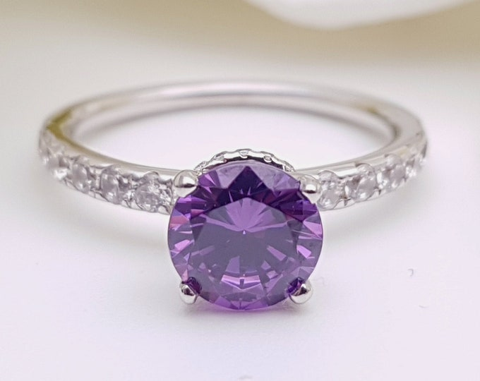 Natural Amethyst solitaire engagement ring with hidden halo available in 10k, 14k, 18k Rose, yellow, white gold and platinum