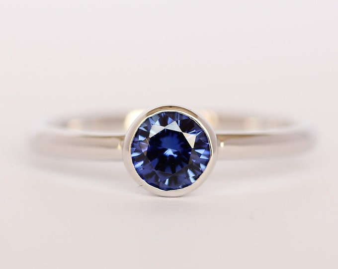 Lab Blue Sapphire bezel set solitaire ring - Available in white gold or sterling silver - handmade ring