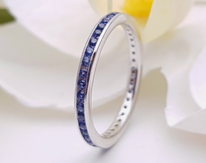 Natural blue sapphire  2.5mm wide full eternity ring avalable in 10k, 14k, 18k yellow, rose or white gold