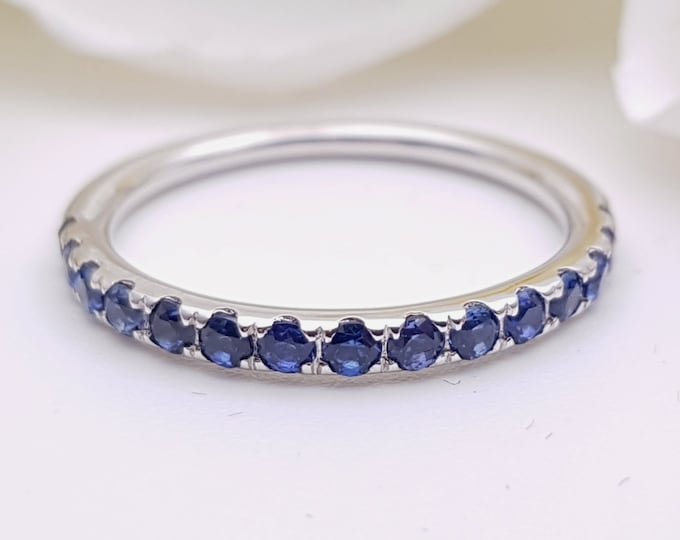 Natural blue sapphire 2.5mm wide Half Eternity ring available in gold and platinum - stacking ring - wedding band