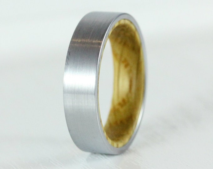 6mm Titanium & Whiskey barrel wood Wedding ring band for men and women