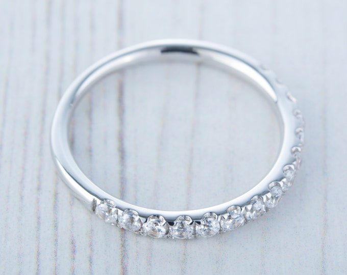 Solid Gold 2.5mm wide  Man Made Diamond Simulant Half Eternity ring - stacking ring - wedding band