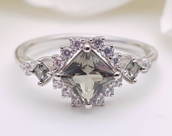 Green Sapphire Princess cut man made diamond halo solitaire engagement ring available in Rose, yellow or white gold and platinum