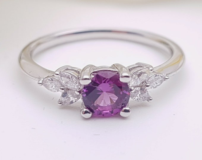 Alexandrite and diamond round & marquise solitaire engagement ring available solid gold and platinum