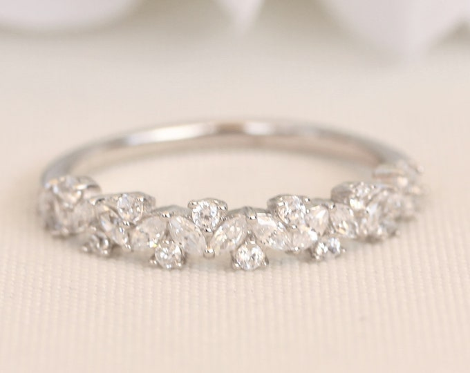 Solid Platinum man made diamond Marquise and round cut half eternity ring