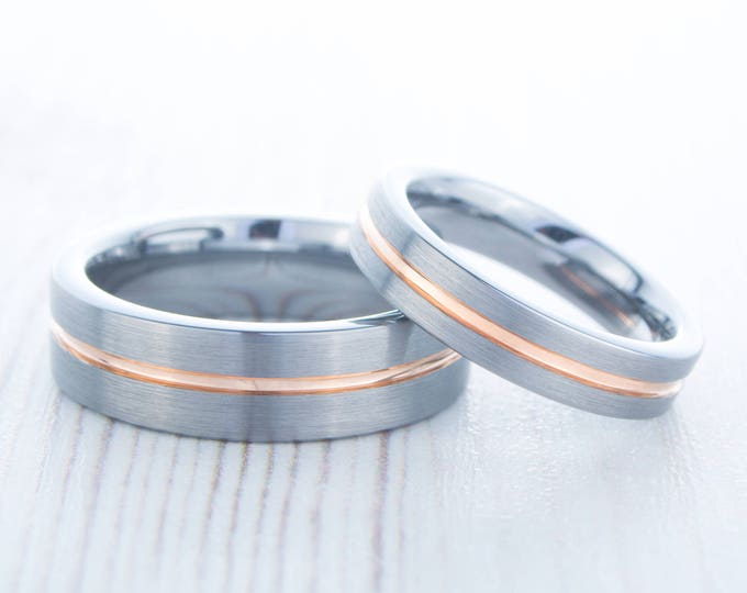 4mm and 6mm wide 14K Rose Gold and Brushed Titanium Couples Wedding ring band for men and women