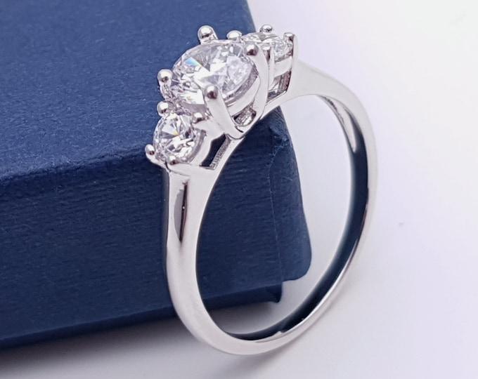 Solid Gold Trellis Man Made Diamond Simulant 3 stone trilogy ring in 10k, 14k, 18k yellow, rose or white gold - engagement ring