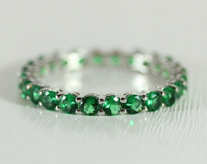 Emerald 2.5mm wide full Eternity ring - stacking ring - wedding band available in gold and platinum
