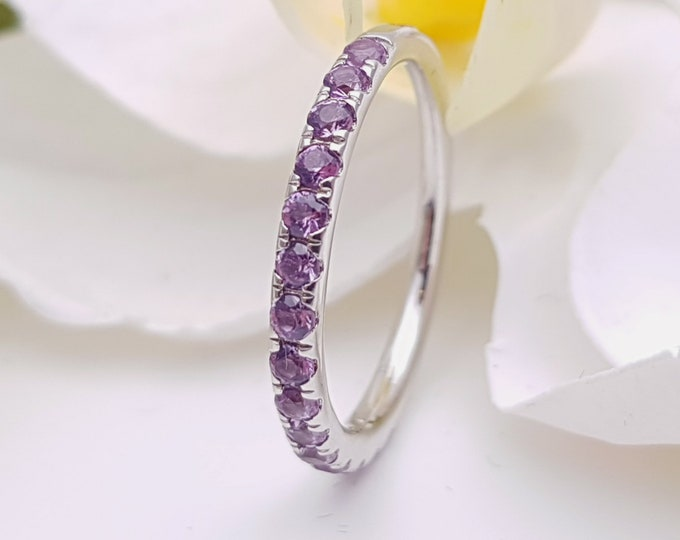 Alexandrite 2.5mm wide Half Eternity ring available in gold - stacking ring - wedding band